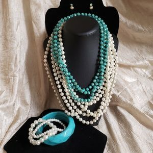 Teal glass beads pearl necklaces earrings bracelet